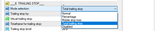 modes trailing stop