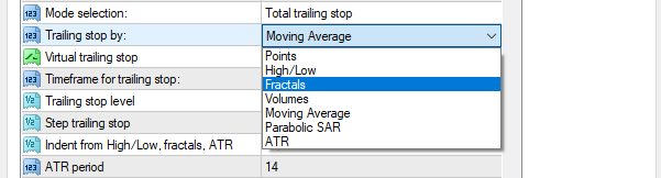 type of trailing stop